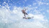 Man Kite Surfing In Ocean on Summer Day, Extreme Sport video