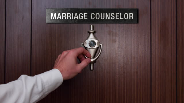 Man knocking on marriage counselor door video