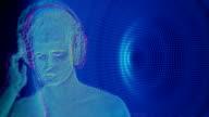 Man listen music in headphones video