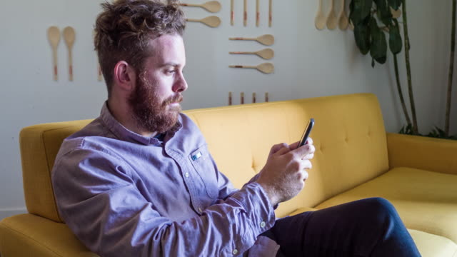 Man looking at his cellphone relaxed at home video