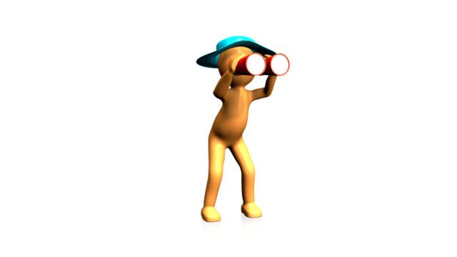 3D man looking through binoculars video