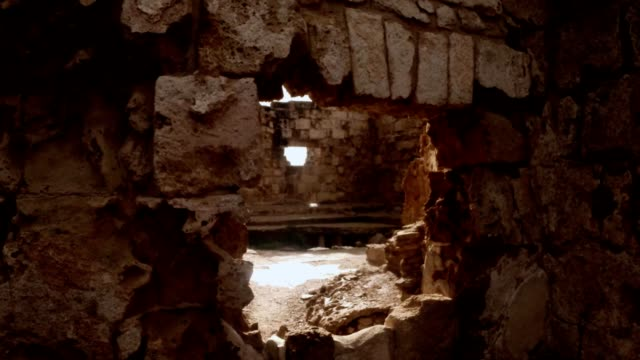 POV man looks in window in ruins of antique town Salamis east Cyprus Famagusta video