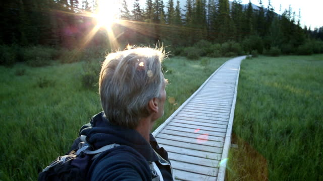 Man looks off down mountain boardwalk at sunrise video