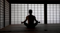 DS Man meditating in tatami house video