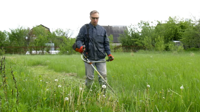 A man mows the grass near his country house. video