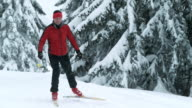 SLO MO man on a cross country skiing track video