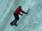 Man On Glacier Ice Wall, Climbing video