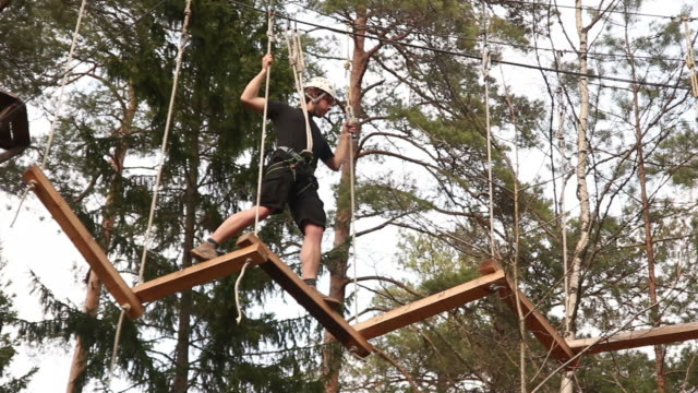 Man on High ropes course - Extreme sports video