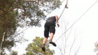 Man on High Ropes course video