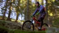 Man on mountain bike riding on trail through forest video