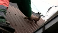 Man on the ladder hammering roof sheet video