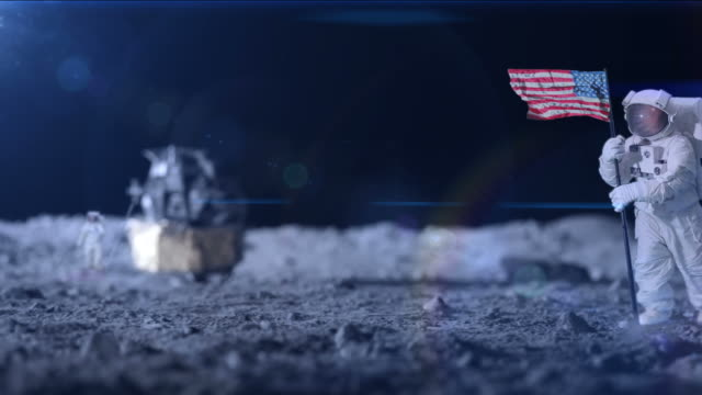 Man on the moon space exploration video