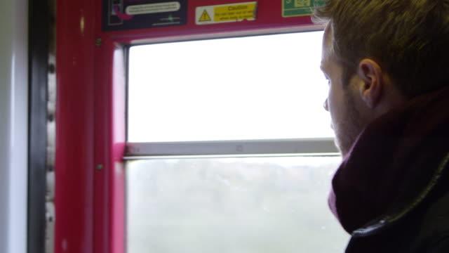 Man On Train Drinking Takeaway Coffee Shot On R3D video