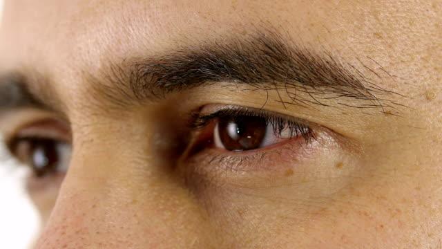 man opens eyes: young man eyes; look, gaze, intensive, pensive, video
