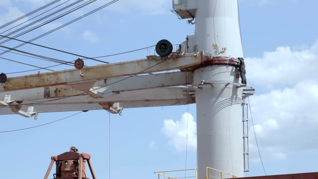 man paints a mast on the vessel video