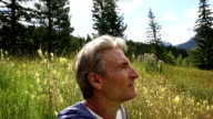 Man pauses in alpine meadow, looking in different directions video