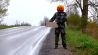 Man perform prank, stand with carton hitchhiking sign at roadside, ask why so serious video