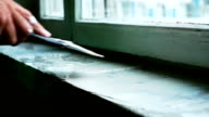 Man plastering a windowsill video
