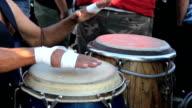 Man Playing Conga Drums On Venice Beach video