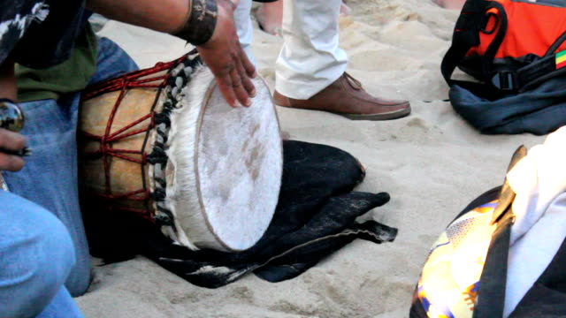 Man Playing Djembe Drum On Venice Beach video