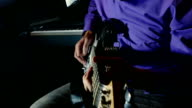 man playing electric guitar recording studio pulls the strings video