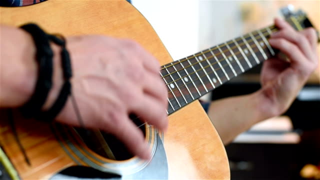 Man Playing On A Classical Guitar video