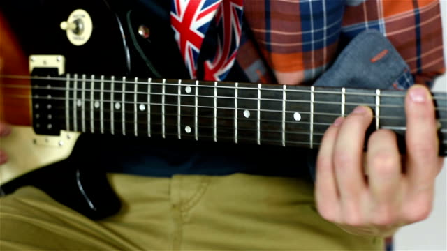 Man Playing On Electric Guitar video