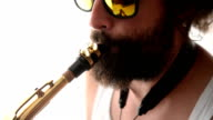 Man plying saxophone video