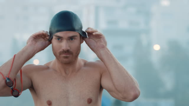 Man preparing for swimming video