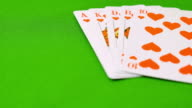 A man puts his royal flush on a green table video