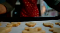 man puts in the oven sheet with ginger cookies video