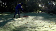 Man rake leaves in beautiful garden at cold autumn time morning. FullHD video