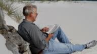 Man Reading Bible At Beach video