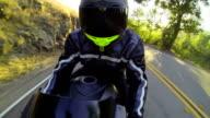 POV Man Riding Motorcycle At Sunset video