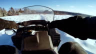 POV of Man Riding Snowmobile and Horses Running video