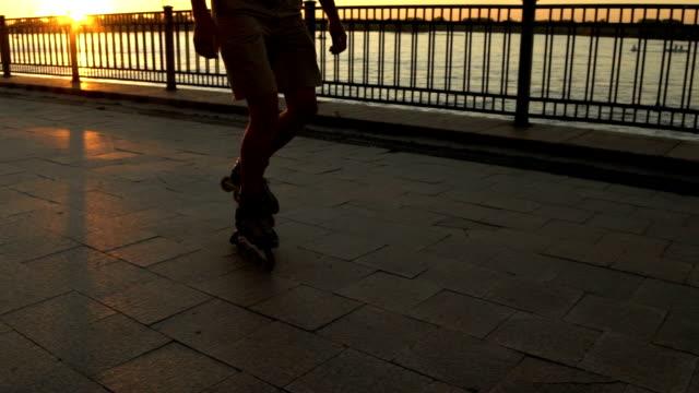 Man roller skating outdoor video