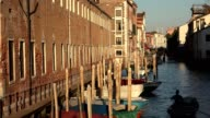 Man Rowing Boat In Venice Canal At Dawn Or Dusk video
