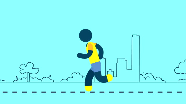 Man running animation with loop background pan. Active and health symbol video