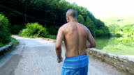 Man running. Slow motion video