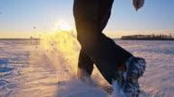 SLO MO Man Running Through The New-Fallen Snow video