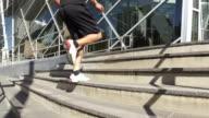 Man runs up stairs video