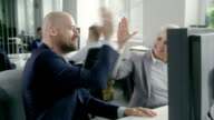 Man satisfied with his work. Businessman success video