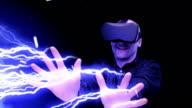 Man shooting with laser beams. Virtual reality simulation video