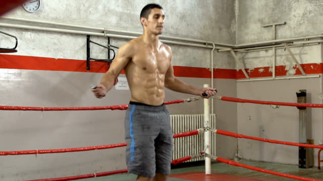 Man skipping rope in a ring video