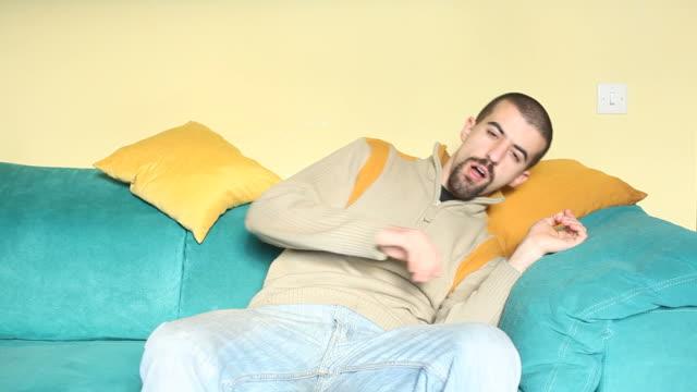 HD: Man sleeping on Sofa video