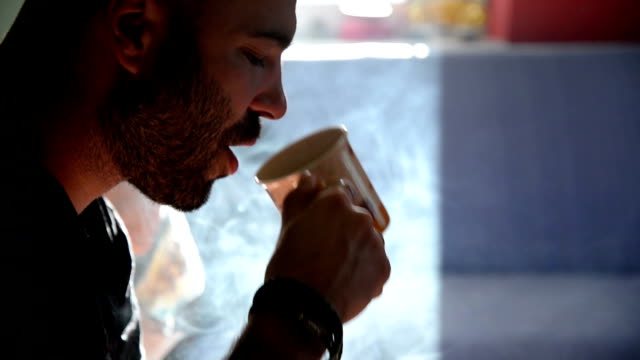 Man smoking cigarette. Close up. video