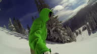 POV Man Snowboarding, Extreme Winter Sport video