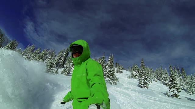 POV Man Snowboarding In Winter HD video