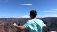 SLOW MOTION: Man standing on the edge of canyon, victoriously raising arms video