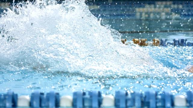 HD SLOW MOTION: Man Swimming Butterfly Stroke video